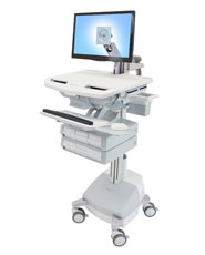 StyleView® Cart with LCD Arm, SLA Powered, 4 Drawers (3x1+1)