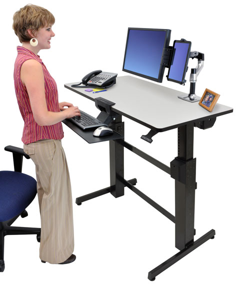 Ergotron 24 271 926 Workfit D Sit Stand Desk Light Grey
